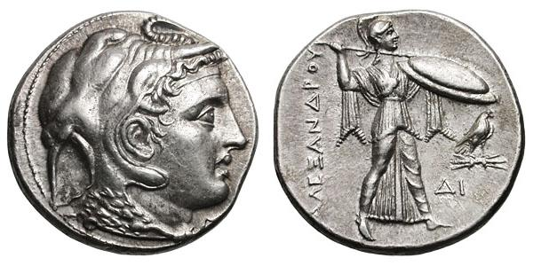 Another coin, minted by Ptolemy (Alexander's companion) in the late 4th century BCE shows Alexander in the style of Dionysus.