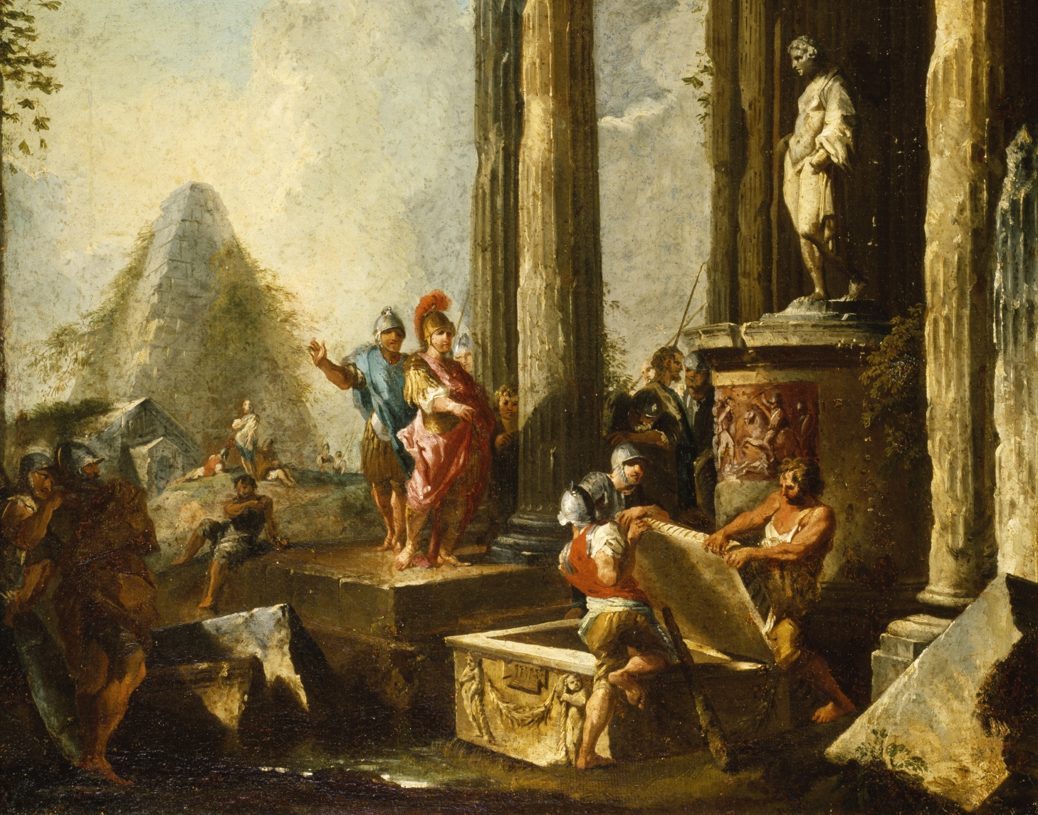 Portion of ALEXANDER THE GREAT AT THE TOMB OF ACHILLES , GIOVANNI PAOLO PANINI, 1718-1719