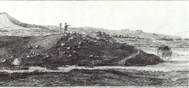View from plain of Cape Sigeion, including tumuli identified as Achilles' and Patroclus', Gell 1804 (Plate 17). Black and white photograph of watercolor drawing.