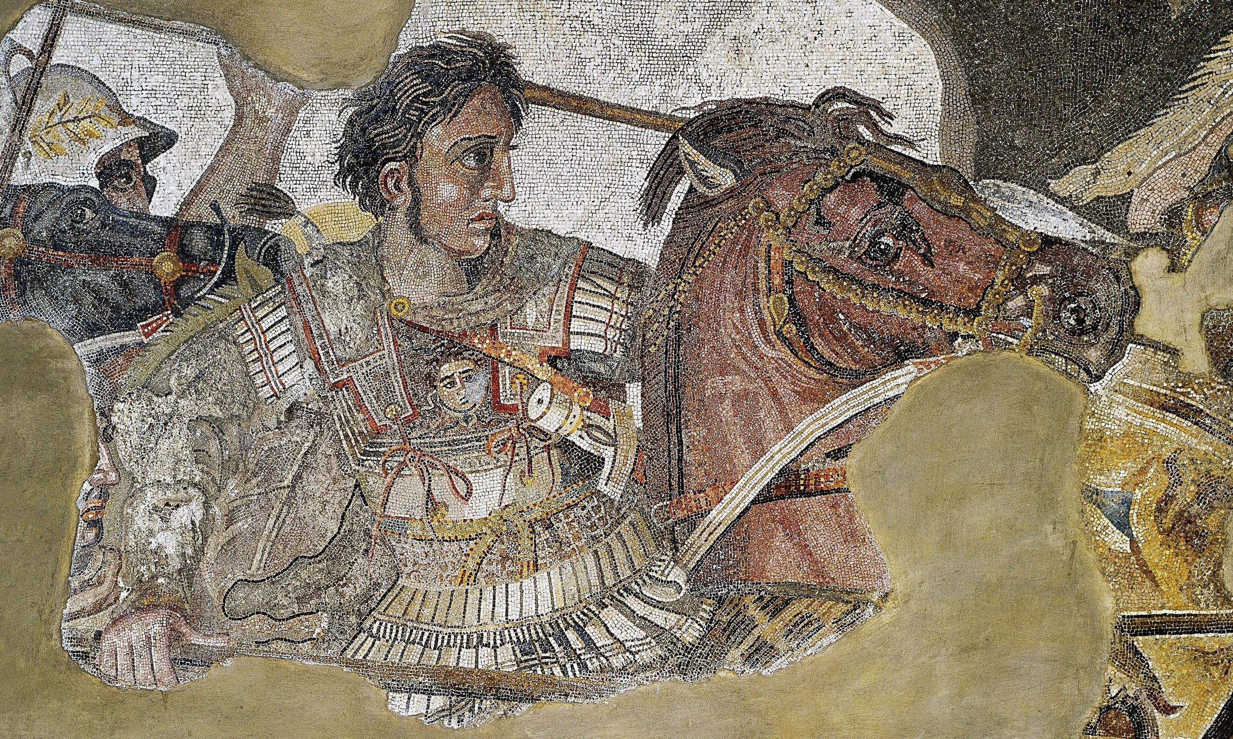(Above: an ancient mosaic of Alexander the Great, dated around 100 BCE)