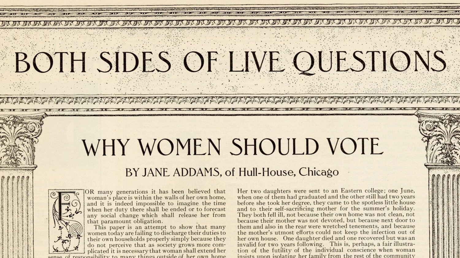 "Jane Addams Essay ""Why WOmen Should Vote"" publish in Ladies Home Journal 1910."