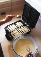 2. Use a 1/4C measure for pouring batter into waffle iron.