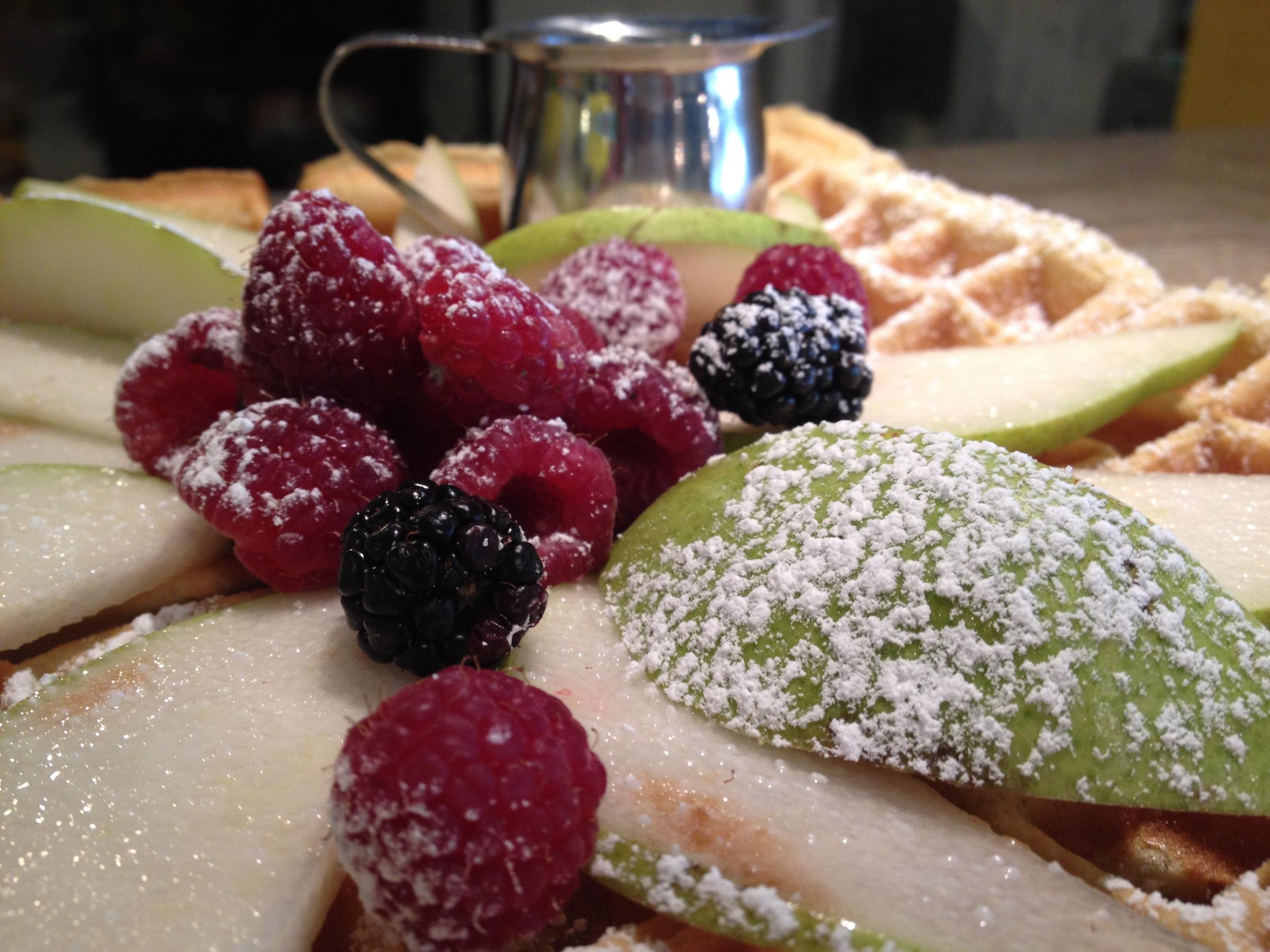 mountain of fruit waffle