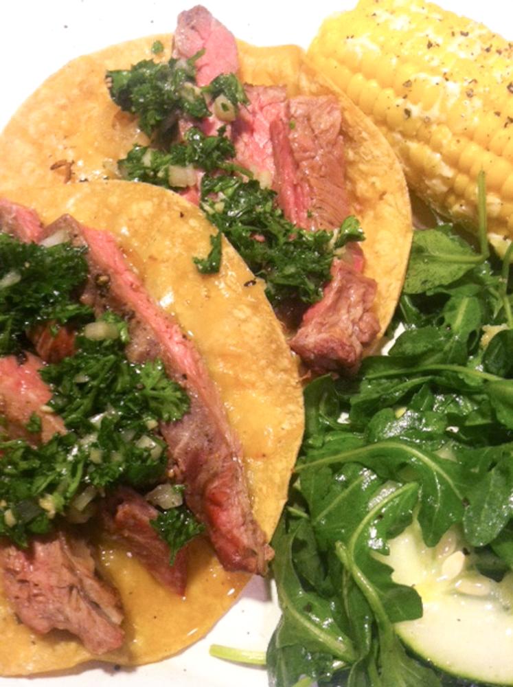 Stemple Creek Grass Fed Skirt Steak Tacos With Chimichurri Sauce
