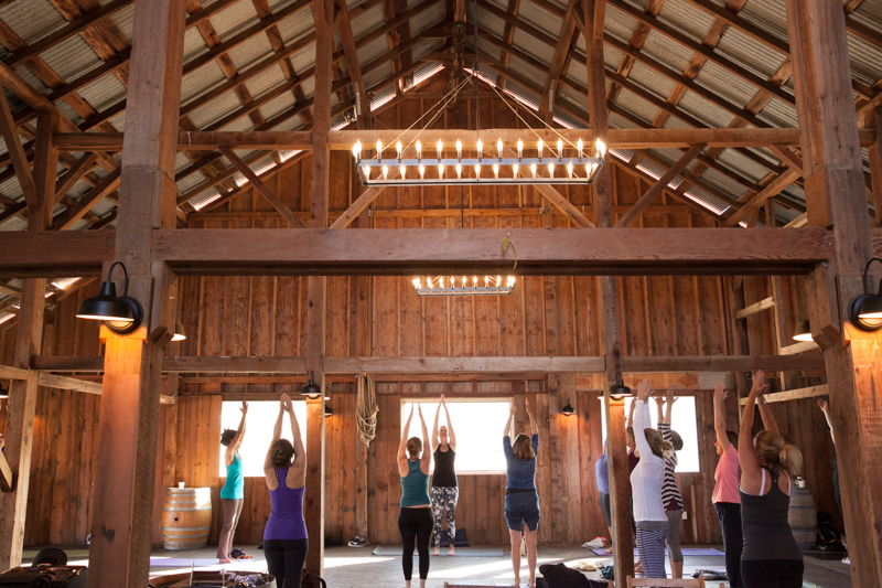 Yoga session at the end of the day with Patti Cocciolo of the Goodness blog