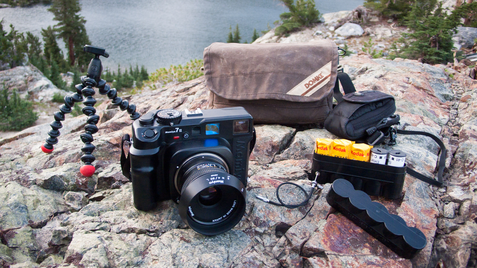 My Mamiya 7 posing on a rocky ledge above Minaret Lake, in the Ansel Adams Wilderness.