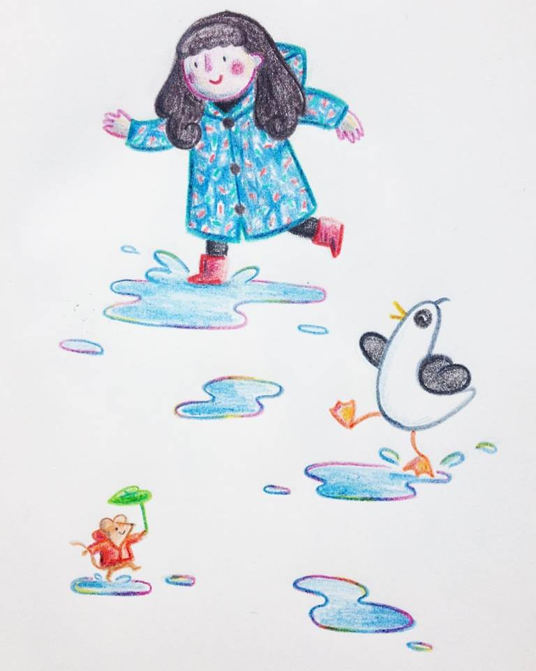 And a doodle in between projects yesterday after the lovely Seasalt raincoat I won a bidding war for on ebay arrived in perfect condition. The little mouse with a raincoat and leaf umbrella stole the show here. Very small drawing - the mouse alone is about the size of a 5 pence coin!
