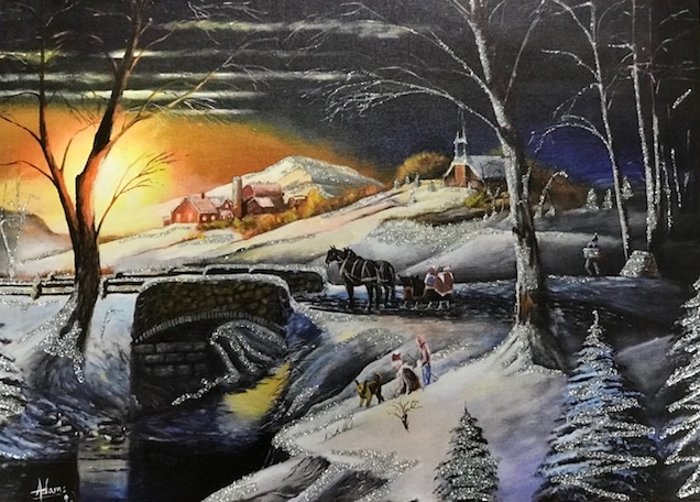 This winter scene was painted by my dad, Sam Adams about 20 years ago. It has graced holiday cards this year benefitting the Missionary Society of Columban Fathers in Nebraska. They printed up almost 500,000 cards!   www.columban.org