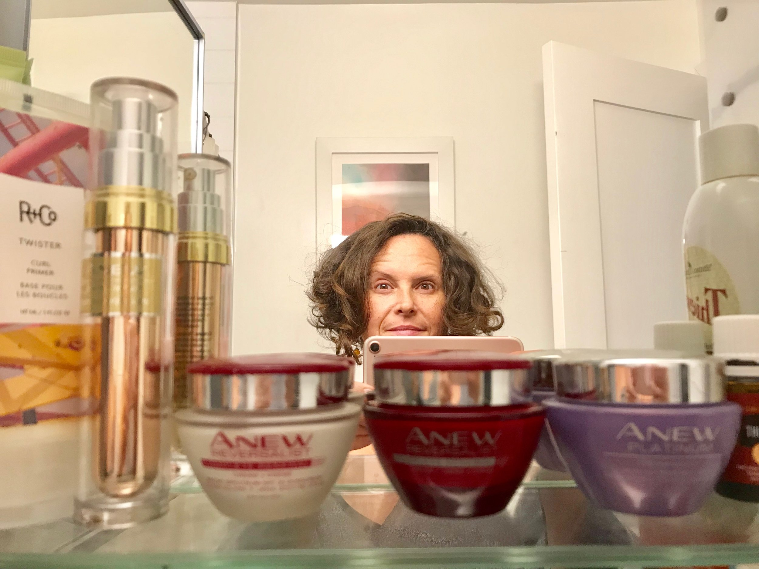 Here is my medicine cabinet and my sleepy eyes at one in the morning as I am writing the blog. I use the AVON Anew lineup and they are all on sale!