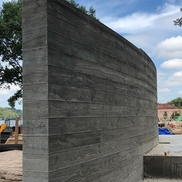 Board Formed Wall #2 at our Lake Austin Project #laruearchitects #brianlongcustomhomes #boardformedconcrete