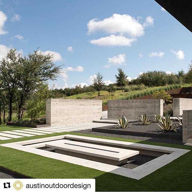 Repost courtesy of Austin Outdoor Design, Our Spanish Oaks project, #cast in place concrete fire pit #boardformedconcrete walls #concretepavers