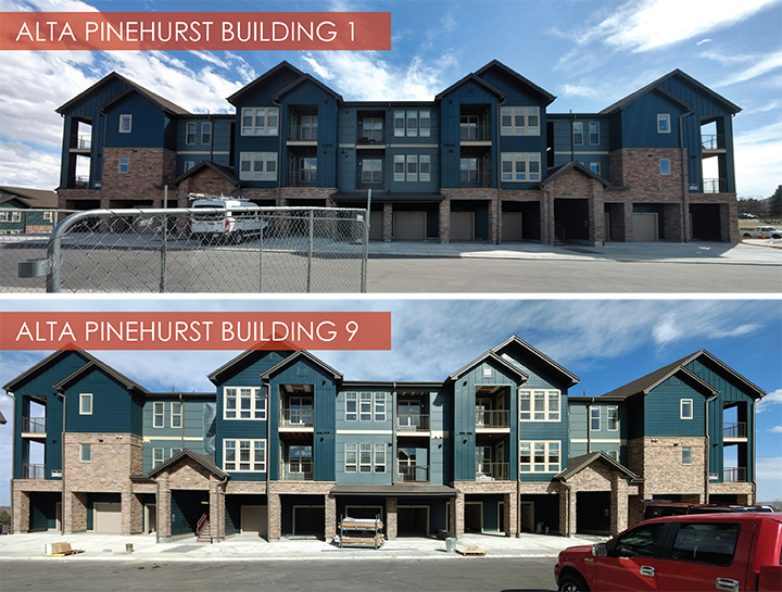 Alta Pinehurst, Lakewood, Colorado  This NGBS Green certified project which consists of 350 apartments across 13 residential buildings. Buildings 1 and 9 are among the final structures to be completed on the site. Final completion is estimated for the end of May 2018.