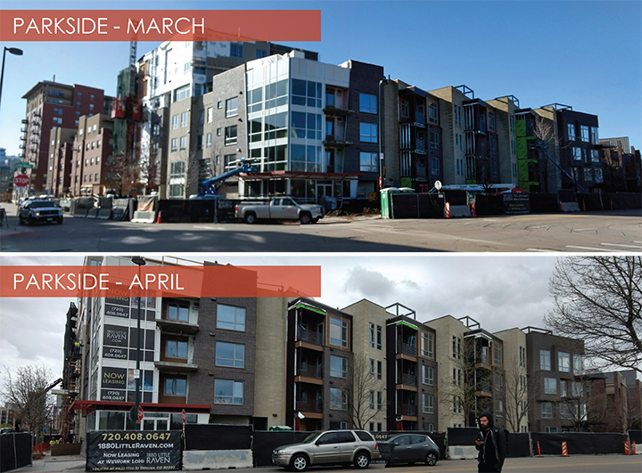 Parkside, Riverfront Park, Denver, Colorado  Parkside, developed by Holland Partners, is nearing completion.  The exterior of the 161 unit multi-family residential project is almost wrapped up and the facility is ready for leasing, anticipating a grand opening in August 2018.