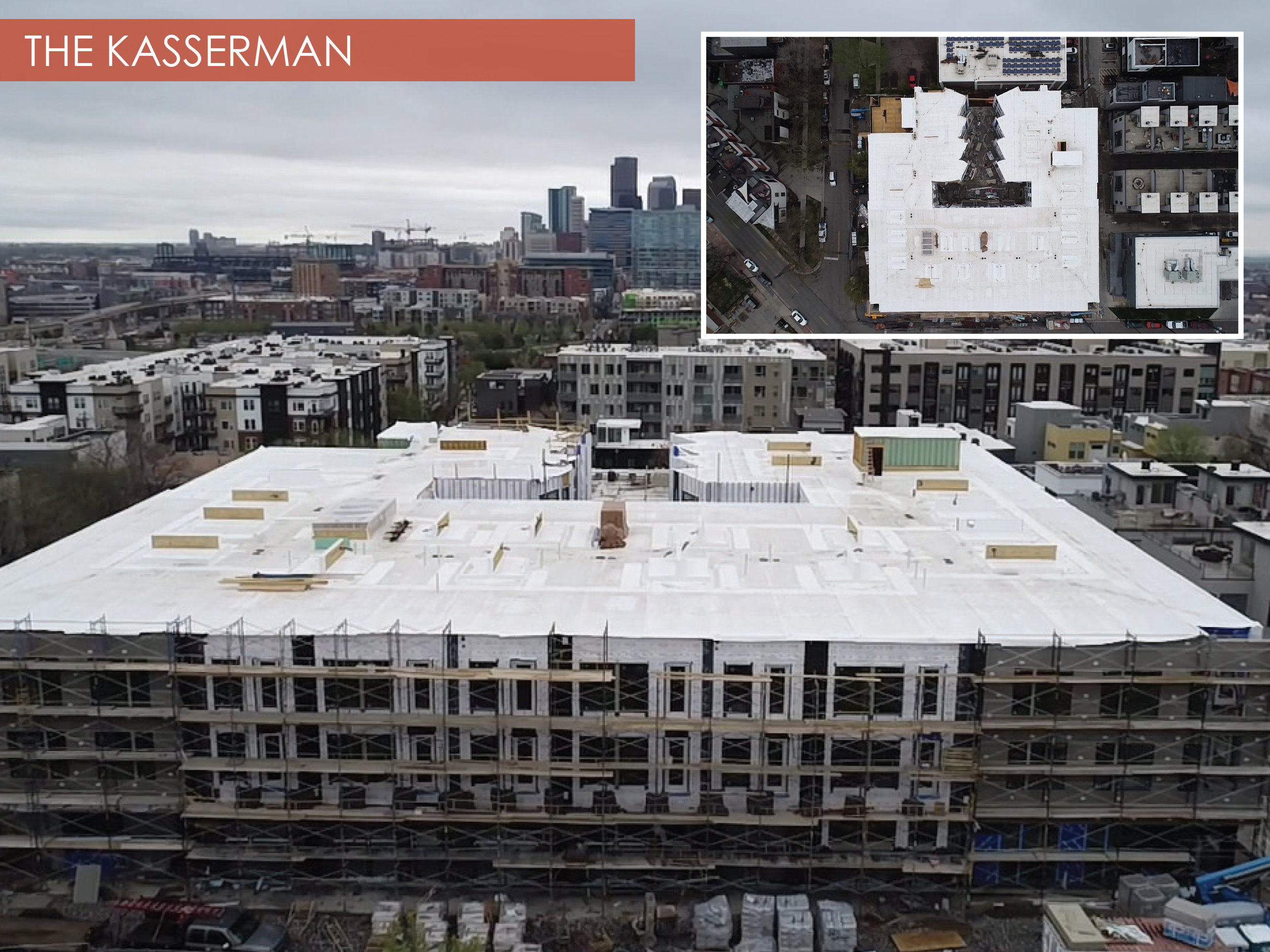 The Kasserman, Highlands, Denver, Colorado   The 3-story Kasserman is underway, finishing up exterior work in the coming months.  Built on the angled grade characteristic of the Highlands neighborhood, the building actually features 3 stories of residential and 2 of resident parking below.  The Kasserman is projected to open September 2018.
