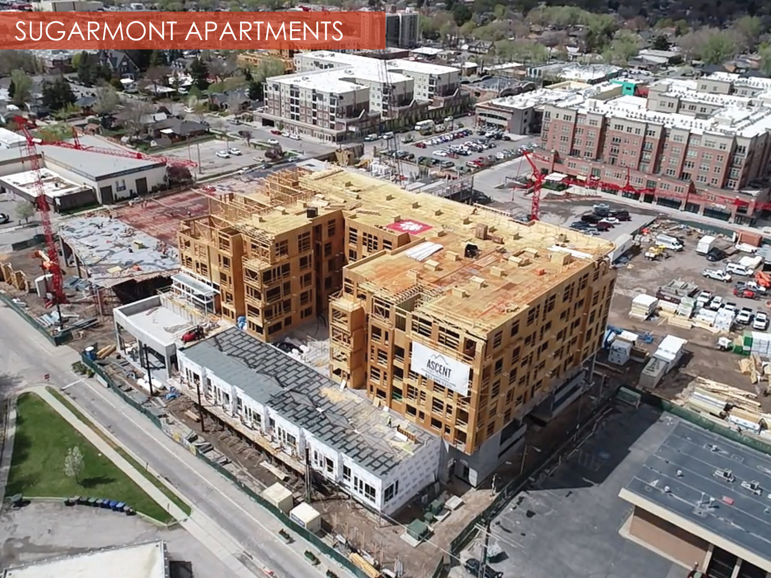 Sugarmont Apartments, Salt Lake City, Utah  The two buildings of the Sugarmont Apartments are well underway, but at various stages in construction. The buildings are 8 stories, connected from stories 4 through 8. Building 2 (foreground in picture below) is working through framing, while Building one is finishing up concrete pours. This project is scheduled for completion January 2019.
