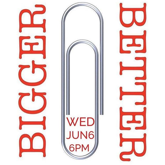 Bigger or Better. THIS Wednesday, 6/6! Meet at the WGBible Youth Room! #biggerorbetter #leftwithapaperclip #camebackwithacar #boom #wgbibleyouth