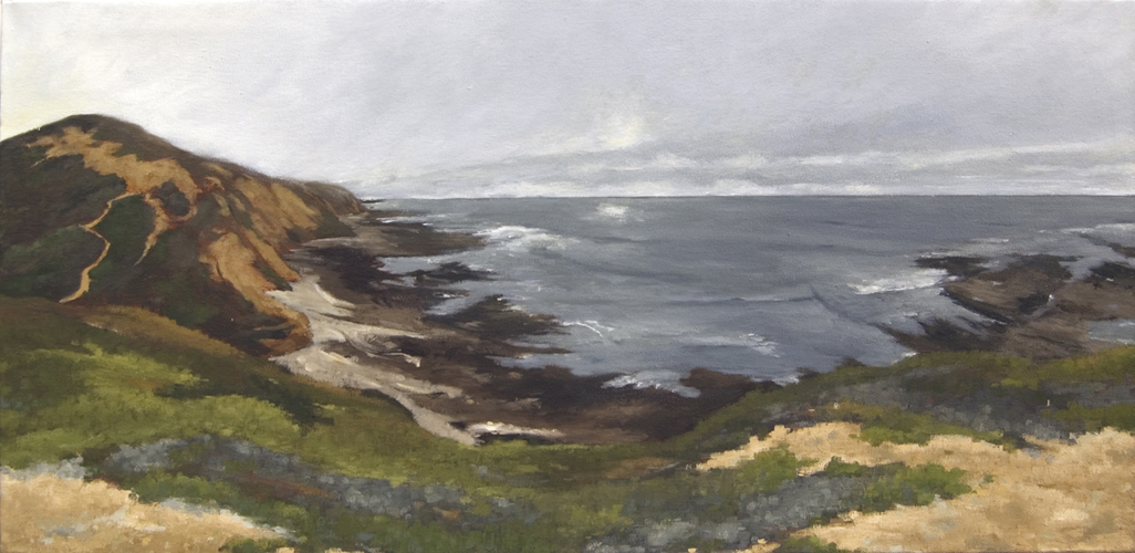 """Montaña de Oro"", 2015, oil on canvas, 18"" x 36"" (private collection)"