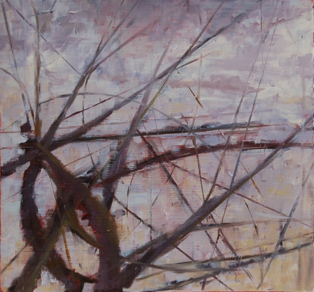 """""""Winter, Late Afternoon"""", 2011, oil on paper, 10"""" x 10"""""""