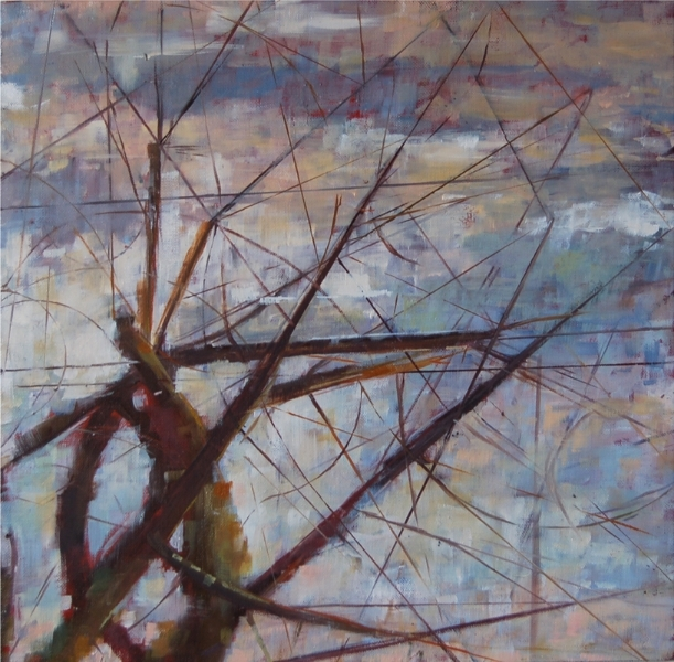 """Winter, Sunny Day at Dusk"", 2012, oil on linen, 12"" x 12"""
