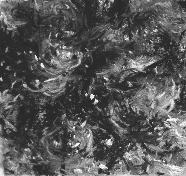 """""""Two Tress #21"""", 2011, charcoal & pastel on paper, 4.5"""" x 4.5"""""""