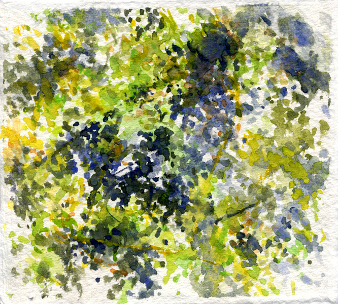 """""""08.01.2011"""", 2011, watercolor on paper, 4"""" x 4"""""""