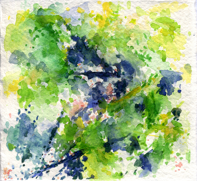 """""""08.04.2011"""", 2011, watercolor on paper, 4"""" x 4"""""""