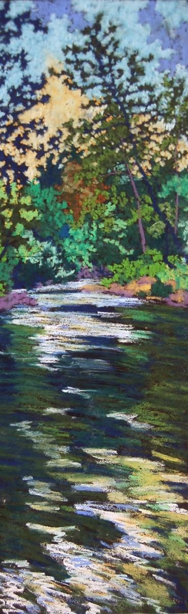 """Wissahickon #5"", 2003, pastel on paper, 27.5"" x 8"""