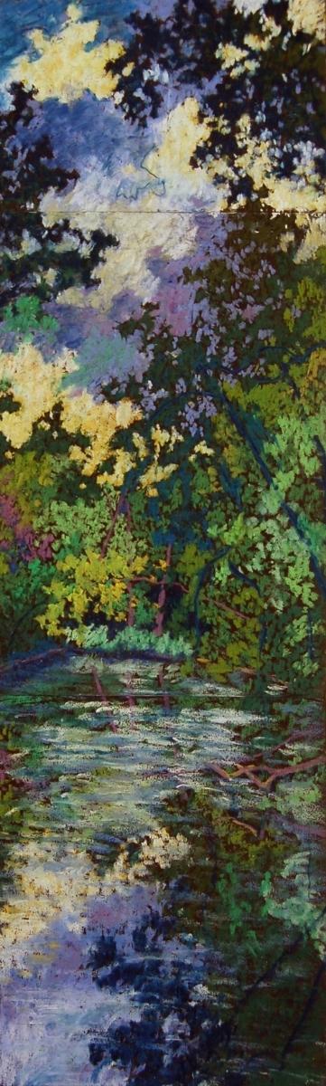 """Wissahickon #2"", 2003, pastel on paper, 26.75"" x 8"""