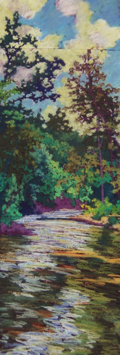 """Wissahickon #6"", 2003, pastel on paper, 26"" x 8"""