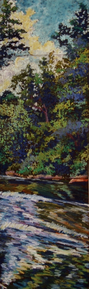 """Wissahickon #1"", 2003, pastel on paper, 27.75"" x 8"""