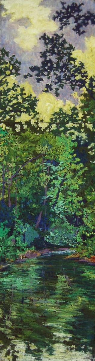 """Wissahickon #7"", 2003, pastel on paper, 36"" x 8"""