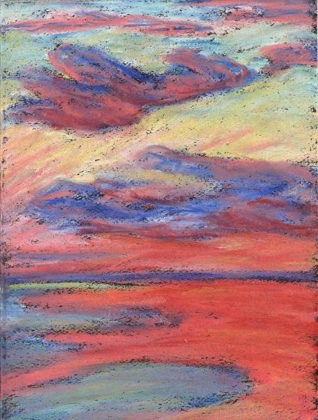 """Chicago, Dawn"", 2003, pastel on paper, 10"" x 8"""