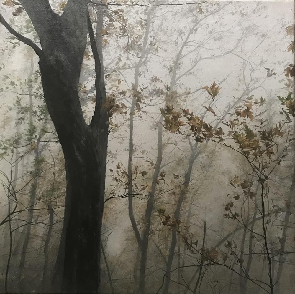 """Paris Mountain in the Fog"", 2018, oil on canvas, 18"" x 18"""