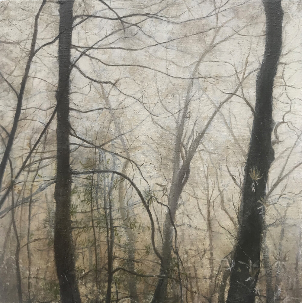 """Jocassee in the Fog"", 2019, oil on panel, 4.25"" x 4.25"" (on hold)"