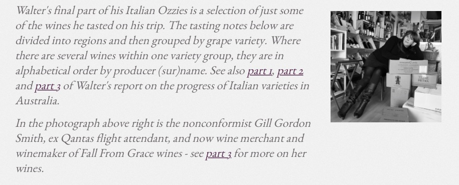 Check out jancis robinson purple pages- we had some lovely reviews for our Italian varietals from Walter Speller-Italian Reviewer     we are moving- opening 1st December at 206 Port Road Aldinga in between Gladys Sym Choon and Rosies Cafe