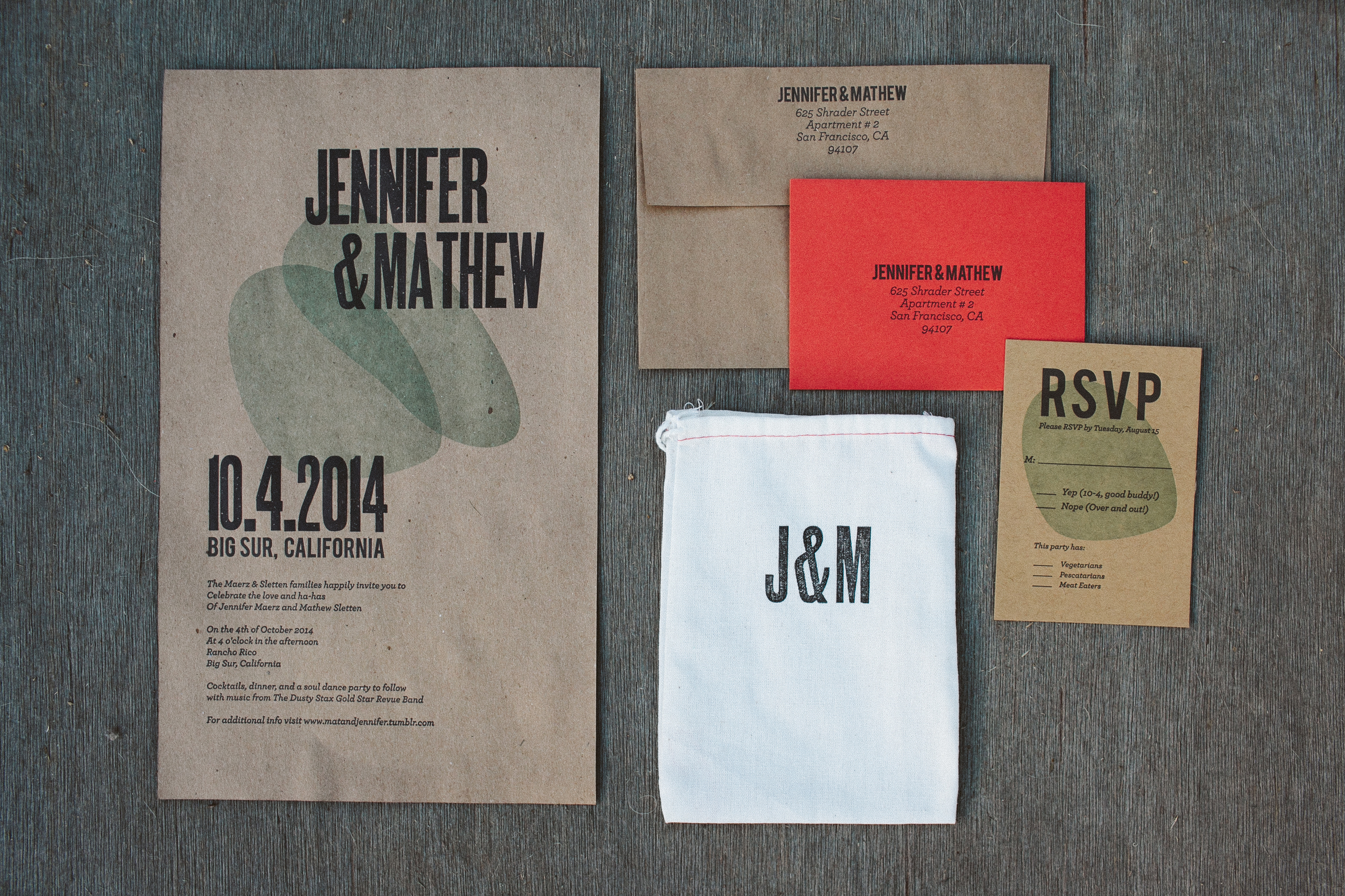Letterpress Woodtype Wedding Invitation