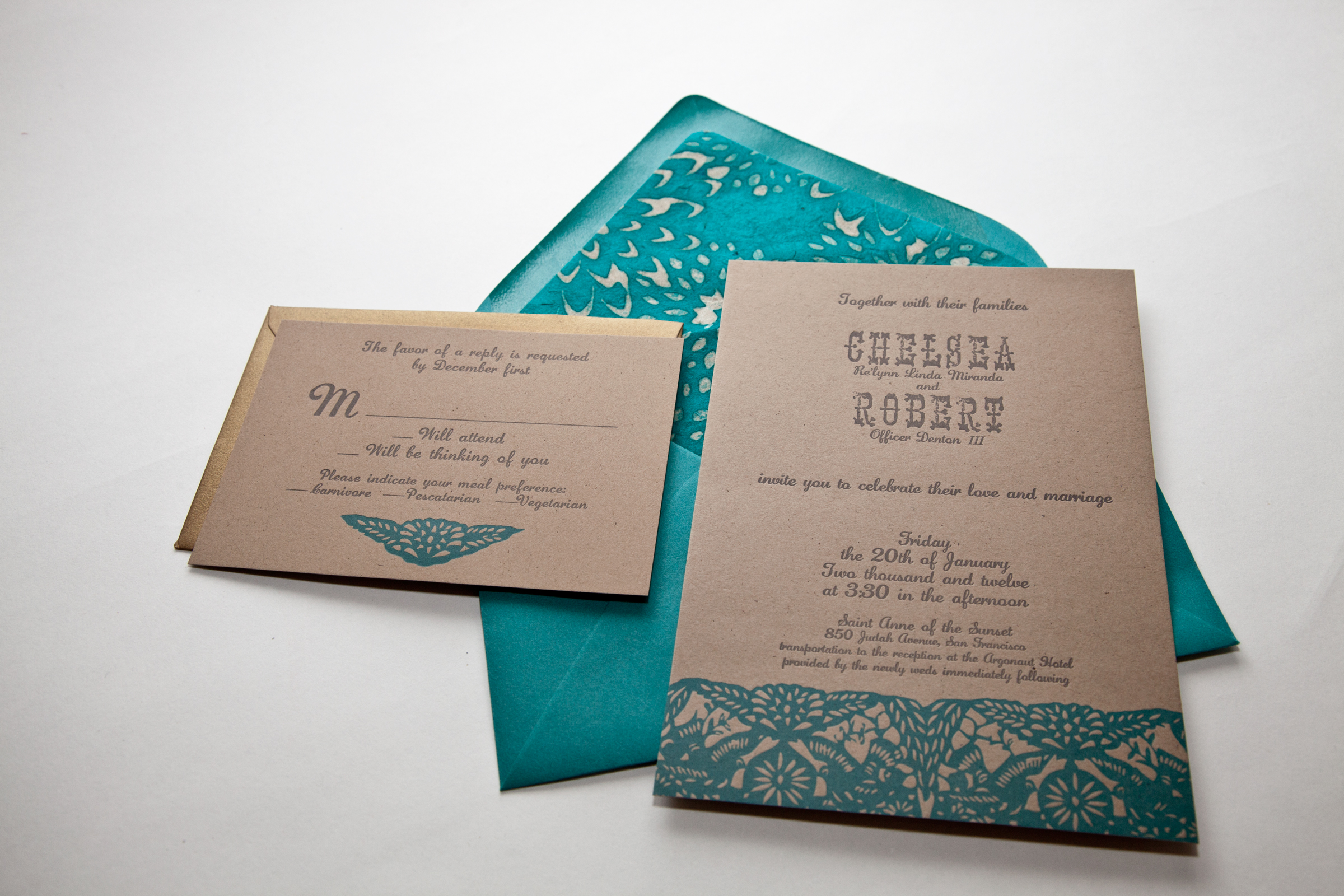 Letterpress wedding invitation mexico inspired