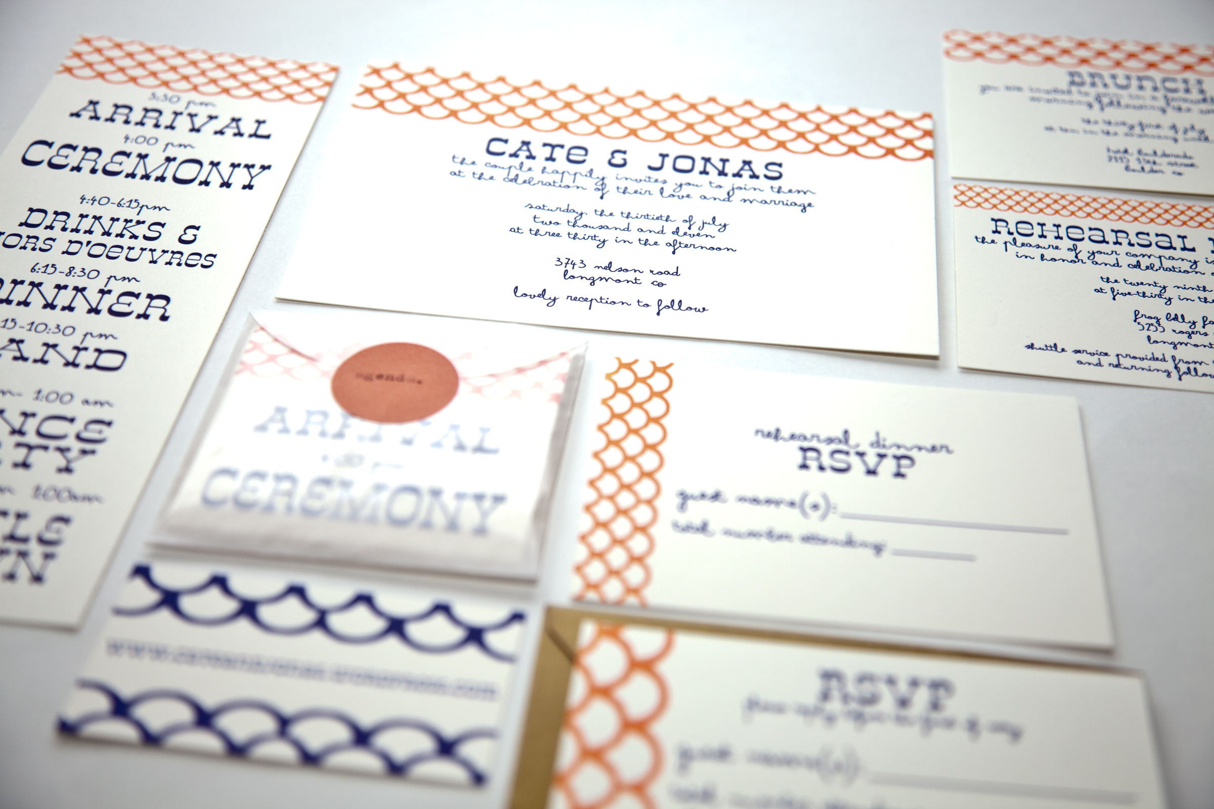 Letterpress wedding suite Cate