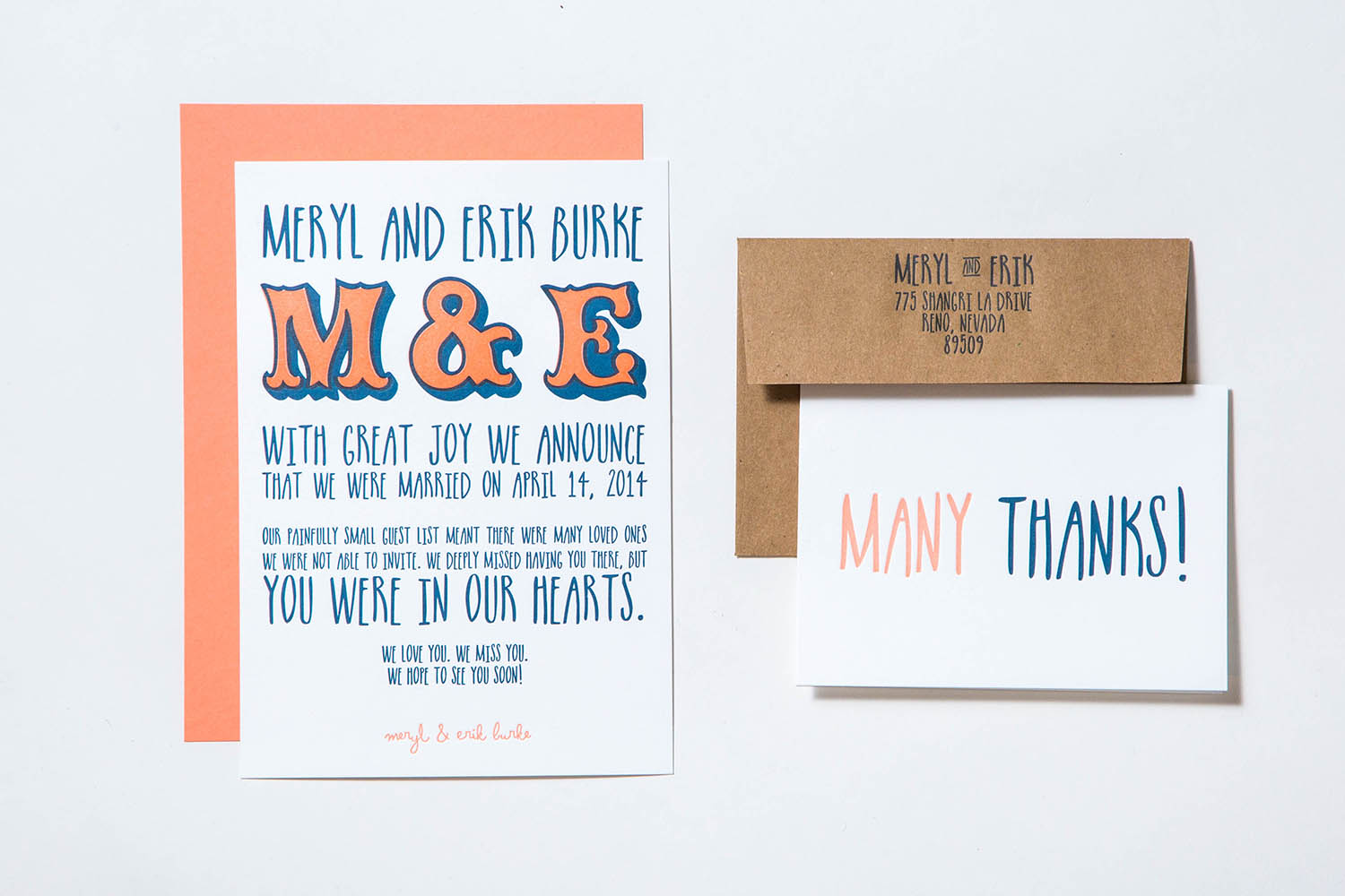 Letterpress wedding announcement and thank you card