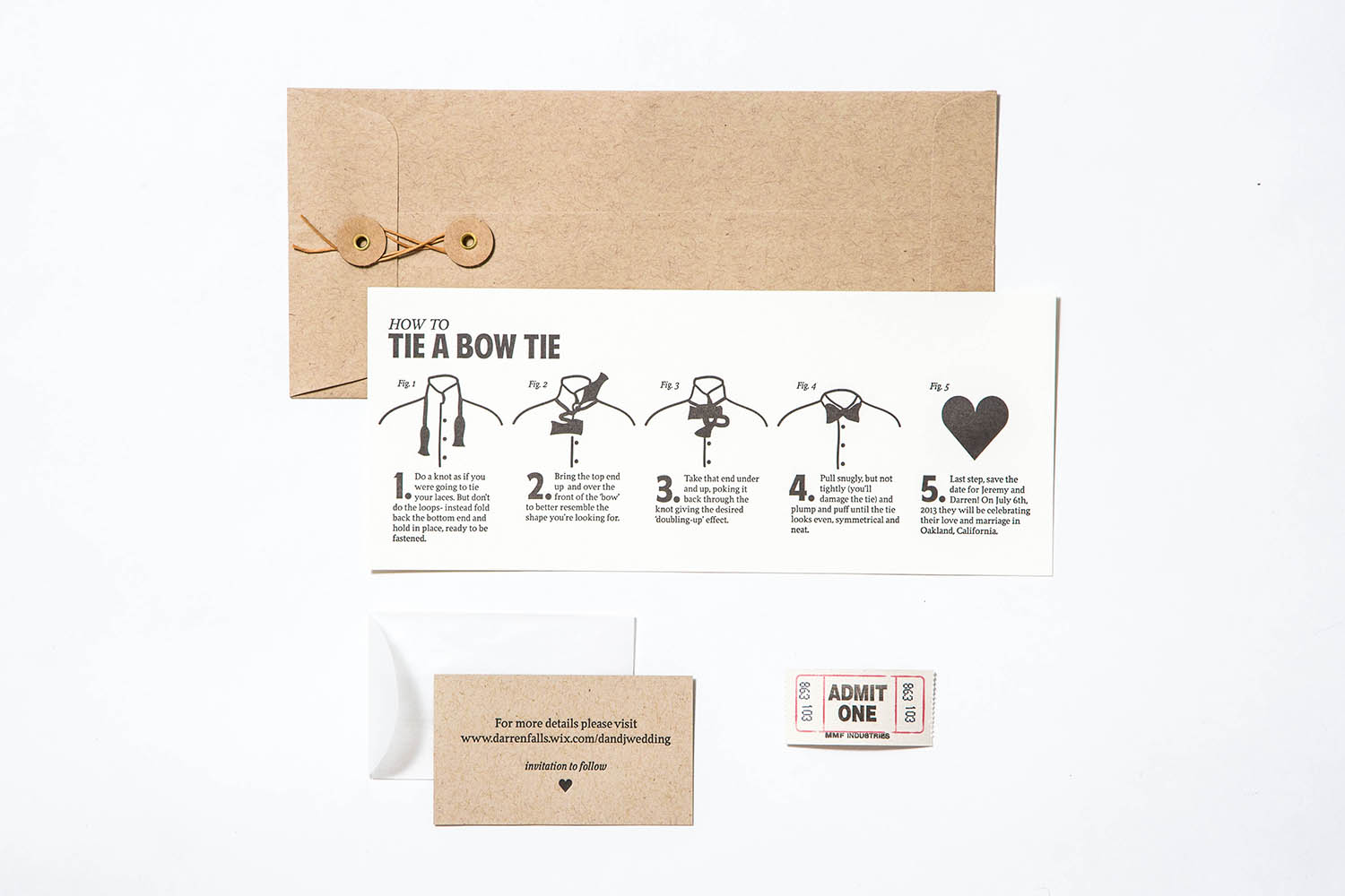 Letterpress save the date bow tie