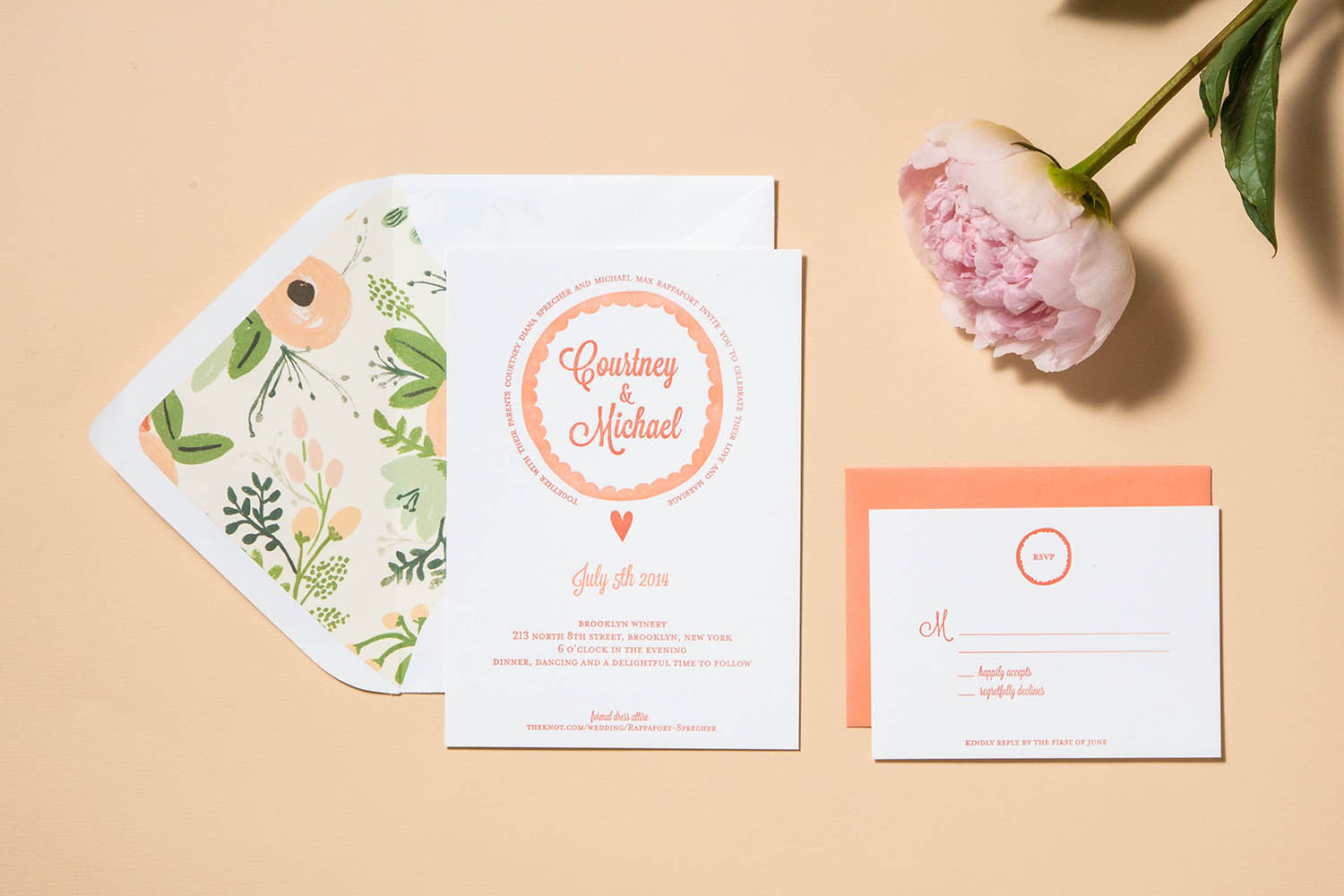 Letterpress Wedding invitation Floral