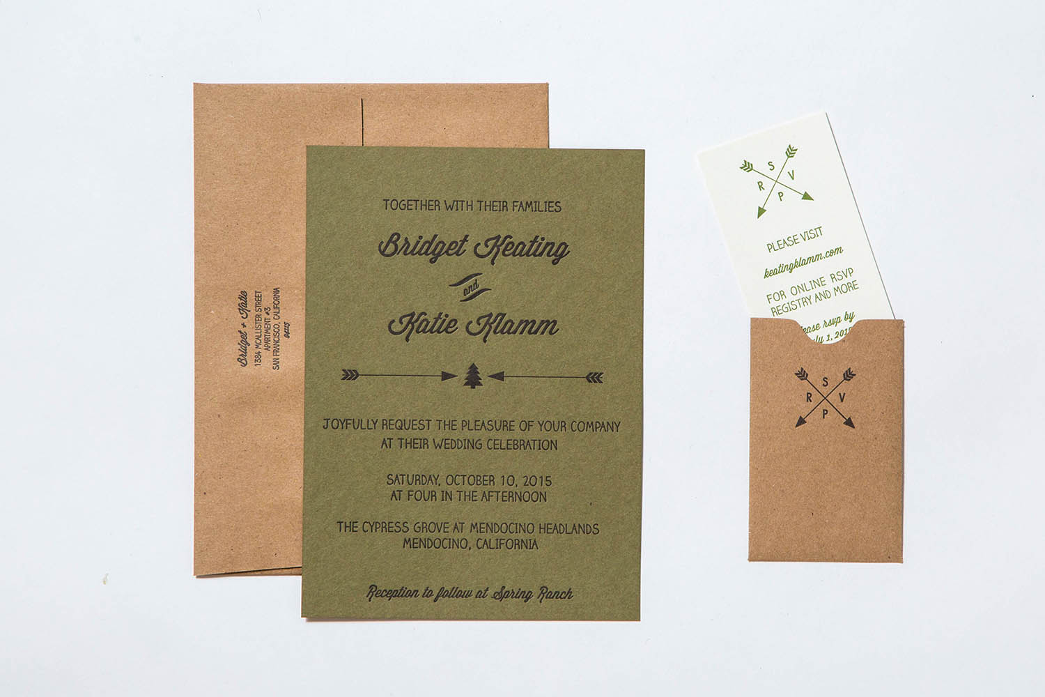 Letterpress wedding invitation forest camp theme