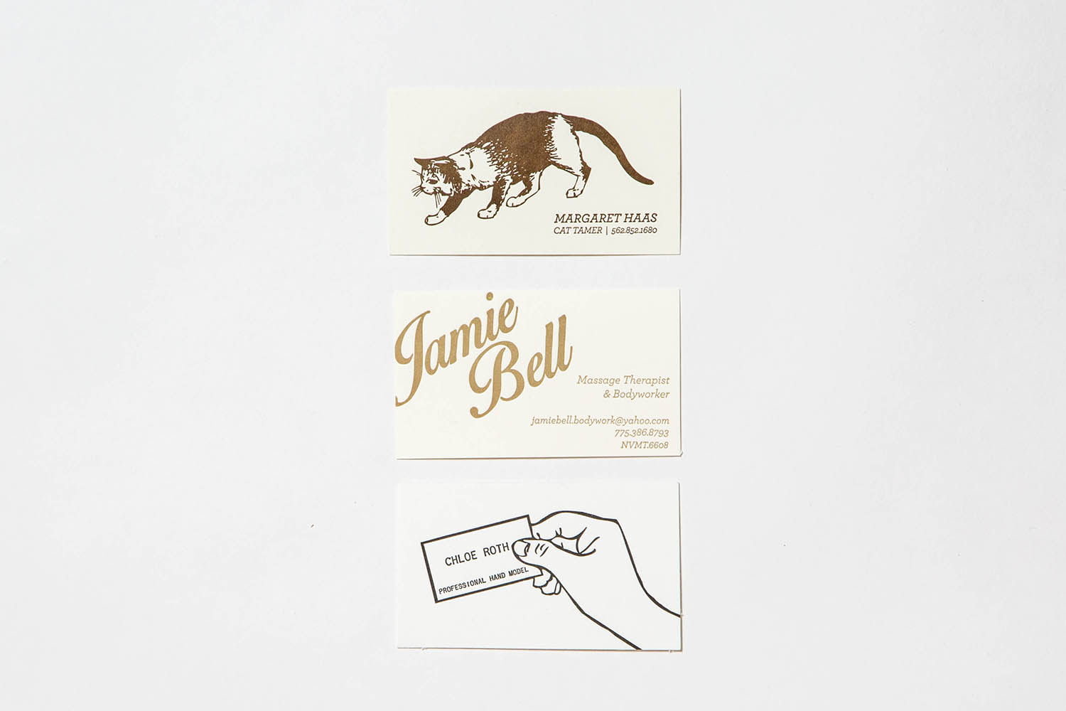 Letterpress Custom business cards cream
