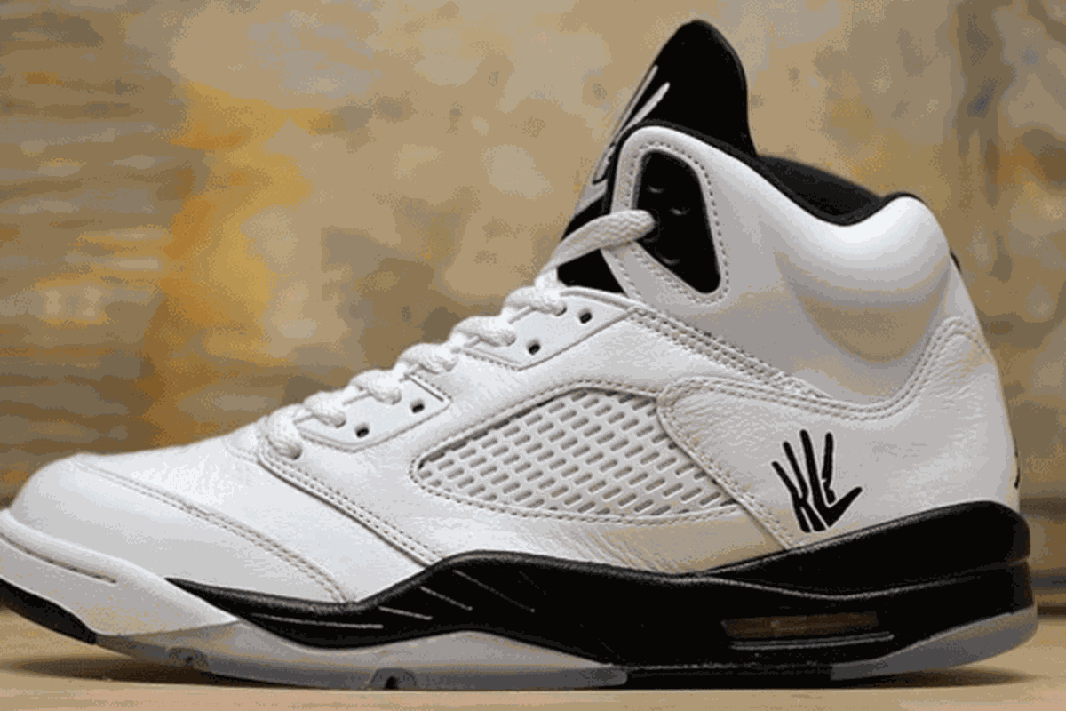 Kawhi's Logo on a pair of Air Jordan V.
