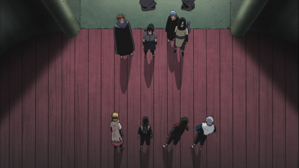 Sasuke speaking with the previous 4 Hokages.