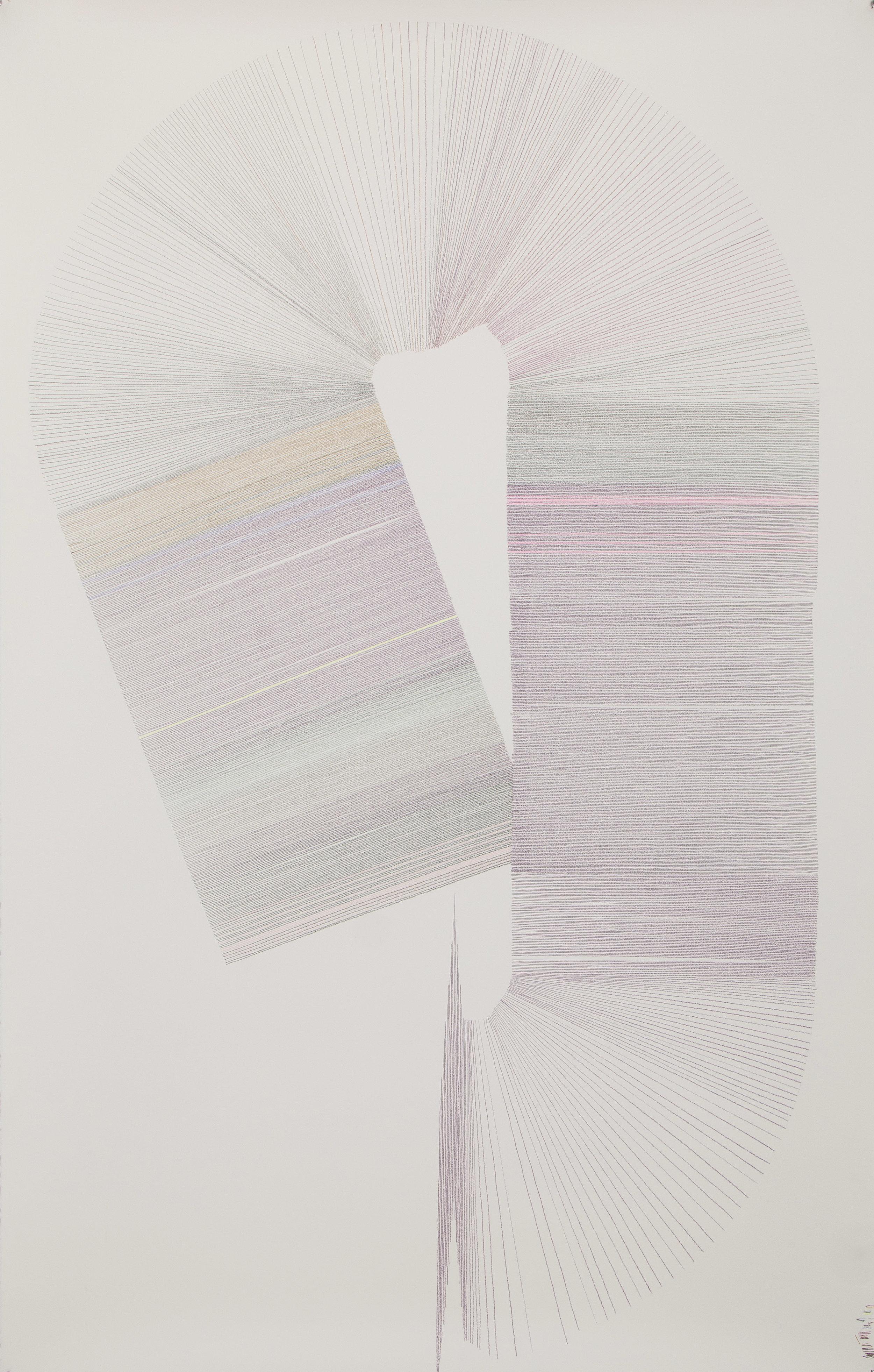 "Ernesto Garcia Sanchez, Untitled, 2018, 71"" x 44"" Crayon on Arches Paper"
