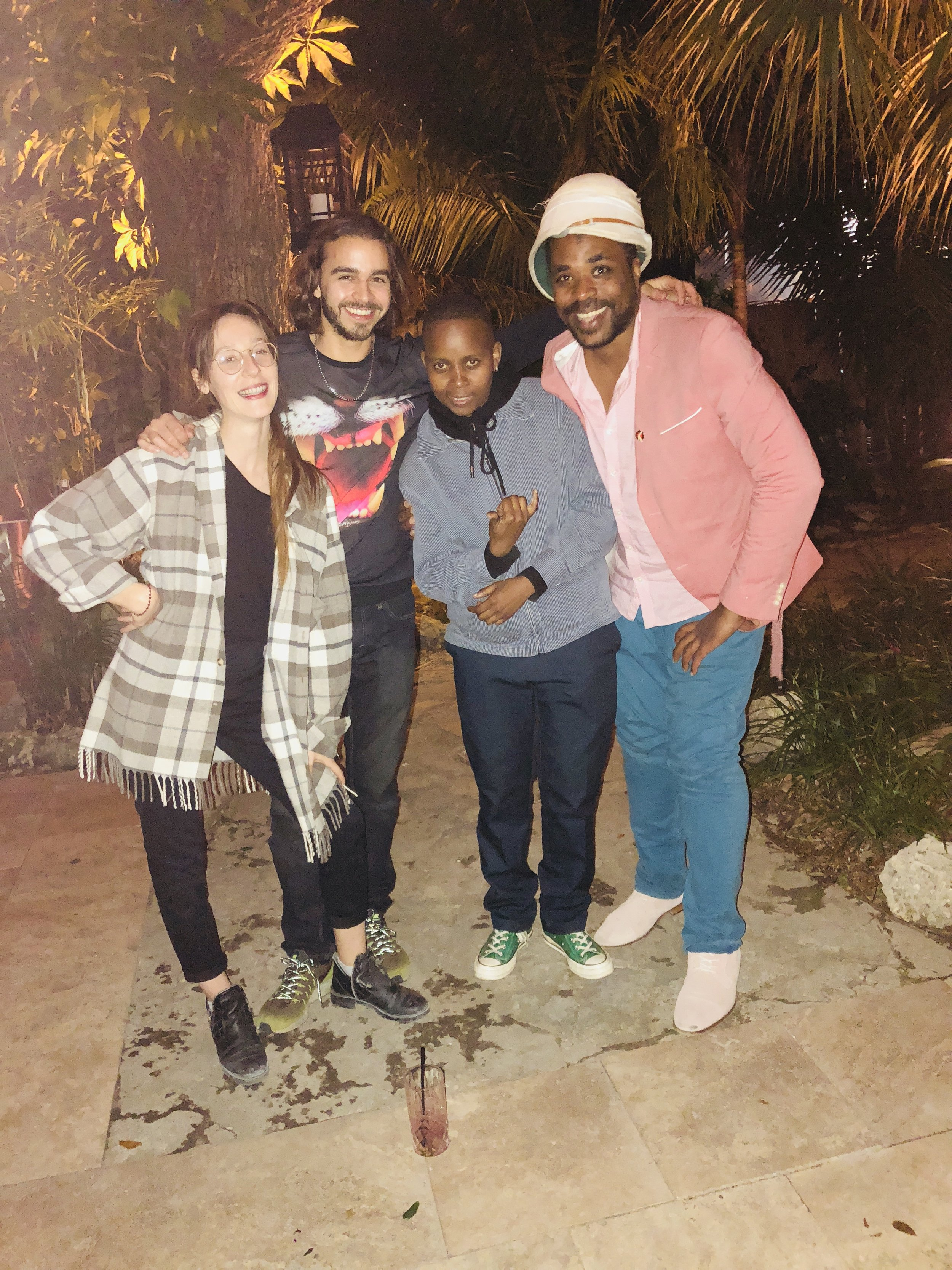 "Pictured from left to right Julie Escoffier (Mexico City), Rodrigue Mouchez (Mexico City), Dada Khanyisa (South Africa) and Umar ""Frohawk Two Feathers"" Rashid (Los Angeles, CA)"