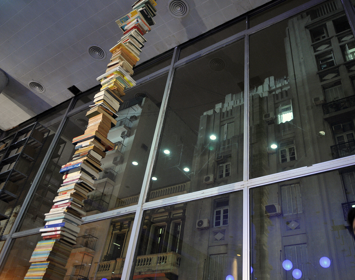 Skyscrapper_2013_Pile of books from the artist personal library from floor to ceiling_Instalation View at San Martín Cultural Center_Buenos Aires_Photo Sandra Cartasso for CSM press_BAJA.jpg