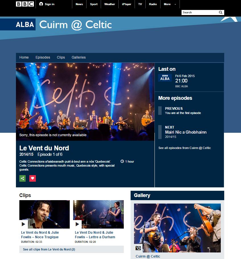 Le Vent du Nord @ Celtic Connections 2015 - iPlayer programme image