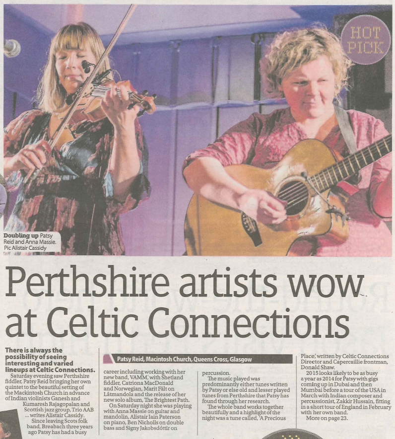 Patsy Reid @ Celtic Connections review in the Perthshire Advertiser